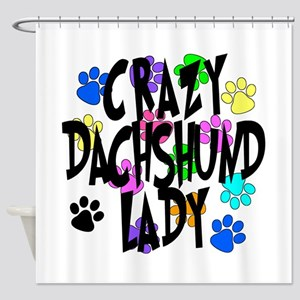 Crazy Dachshund Lady Shower Curtain